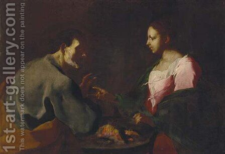 An elderly man and a woman by a brazier by (after) Giuseppe Antonio Petrini - Reproduction Oil Painting