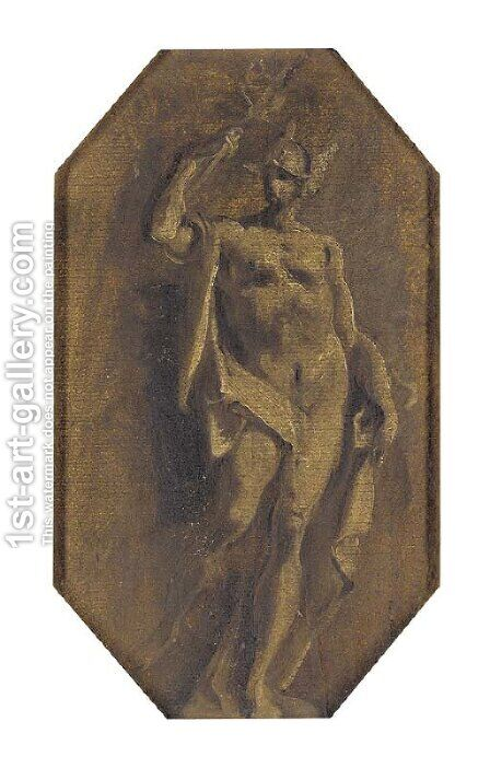 Mercury a feigned statue by (after) Giuseppe Bazzani - Reproduction Oil Painting