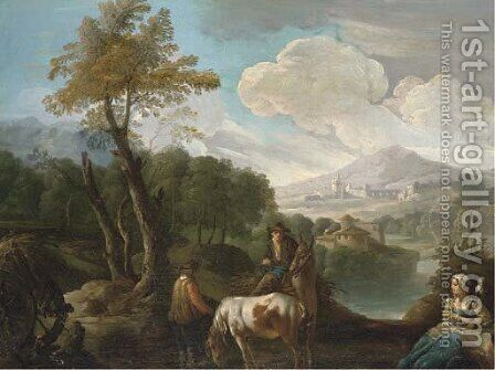 A landscape with farm labourers on a track, a lakeside town beyond by (after) Giuseppe Bernardino Bison - Reproduction Oil Painting