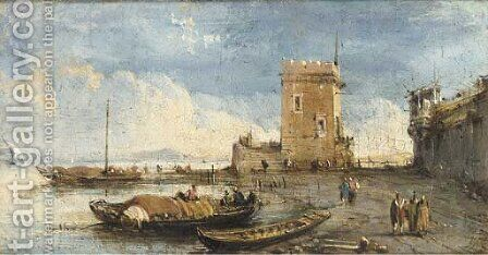 A capriccio of the Venetian laguna by (after) Giuseppe Bernardino Bison - Reproduction Oil Painting