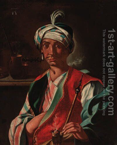 An Oriental man, in a plumed turban, smoking a hookah by (after) Giuseppe Bonito - Reproduction Oil Painting