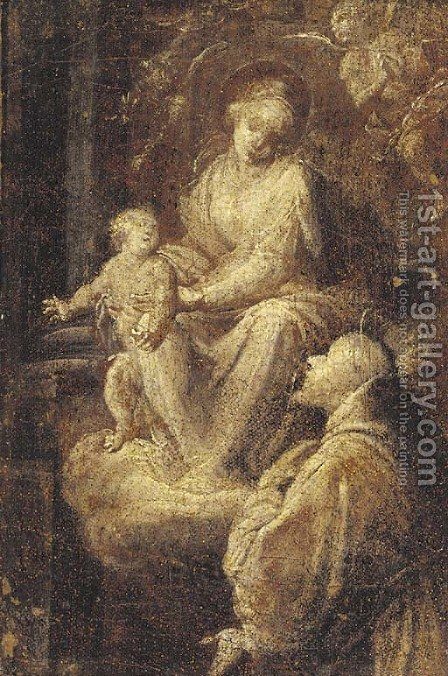The Madonna and Child adored by a male saint by (after) Giuseppe Maria Crespi - Reproduction Oil Painting