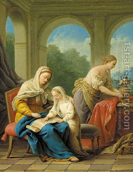 The Education of the Virgin by (after) Giuseppe Mazzola - Reproduction Oil Painting