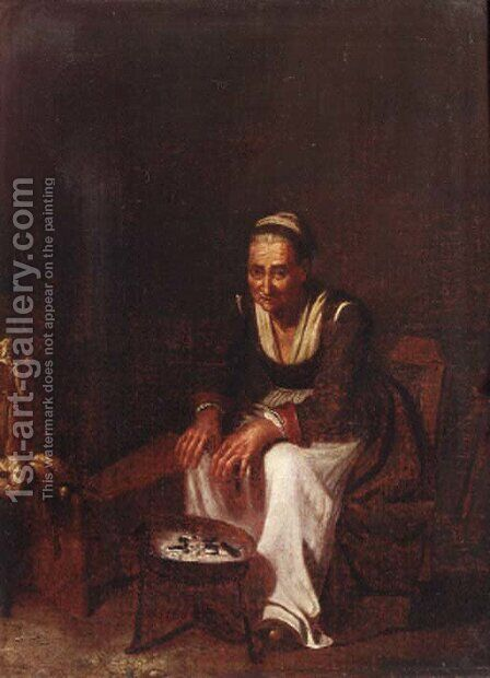 An old peasant woman by (after) Giuseppe Nogari - Reproduction Oil Painting