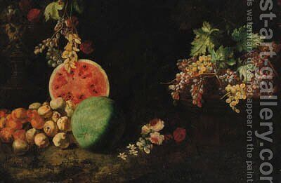 Melons by (after) Giuseppe Ruoppolo - Reproduction Oil Painting