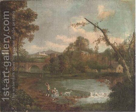 An extensive landscape with figures by a lake, a bridge and temple beyond by (after) Giuseppe Zais - Reproduction Oil Painting