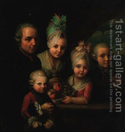 A family portrait group by (after) Dominique (Guillaume Dominique Jacques) Doncre - Reproduction Oil Painting
