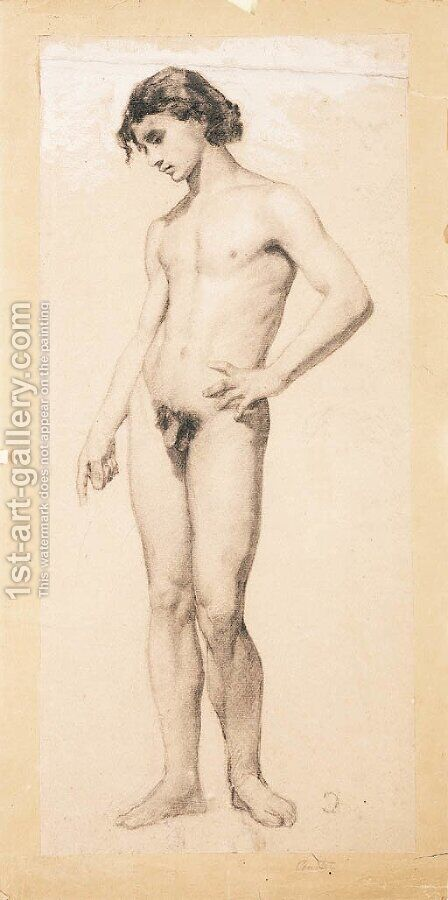 A male nude by (after) Gustave Courbet - Reproduction Oil Painting