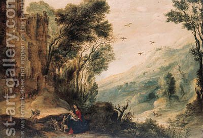 An extensive landscape with the Rest on the Flight into Egypt by (after) Gijsbrecht Leytens - Reproduction Oil Painting