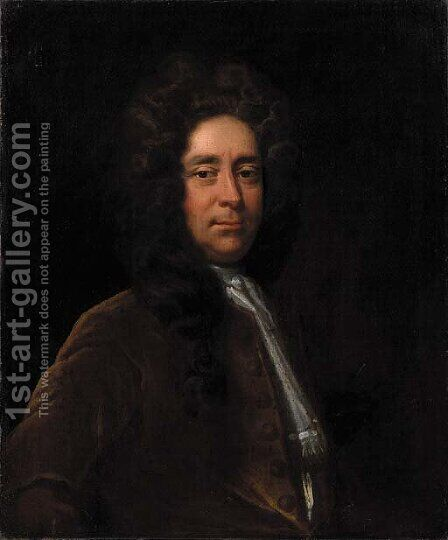 Portrait of a gentleman, said to be Edward Negus, Esq. by (after) Hans Hysing - Reproduction Oil Painting