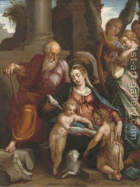 The Holy Family with Saint John the Baptist and Angels making music by (attr. to) Rottenhammer, Hans - Reproduction Oil Painting