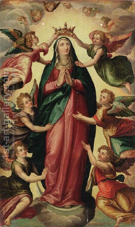 The Assumption of the Virgin by (after) Hendrick De Clerck - Reproduction Oil Painting