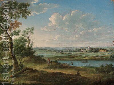 An extensive river landscape with a horseman on a path, a church and town beyond by (after) Hendrik Frans Van Lint (Studio Lo) - Reproduction Oil Painting
