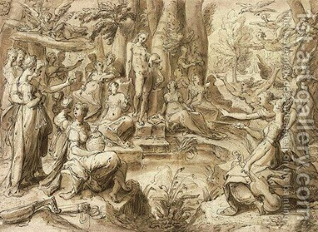 Apollo at the Castilian Spring, attended by the Muses and the Liberal Arts by (after) Hendrick Goltzius - Reproduction Oil Painting