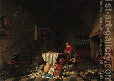 A kitchen with a maid preparing meat at a table by (after) Hendrick Maertensz. Sorch (see Sorgh) - Reproduction Oil Painting