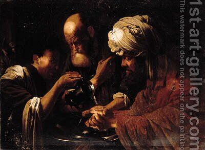 Pilate washing his hands by (after) Hendrick Terbrugghen - Reproduction Oil Painting