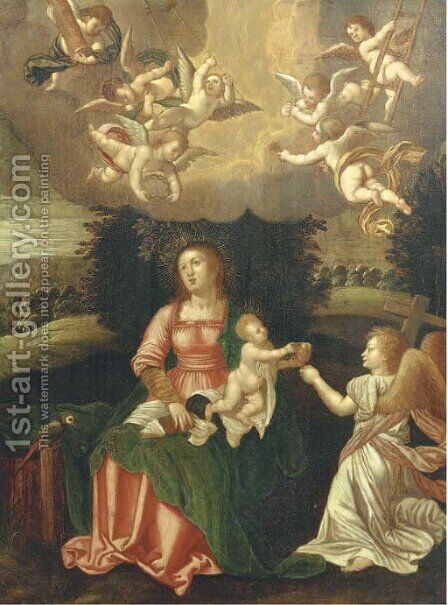 The Virgin and Child with angels holding the tools of The Passion by (after) Hendrik Van Balen, I - Reproduction Oil Painting