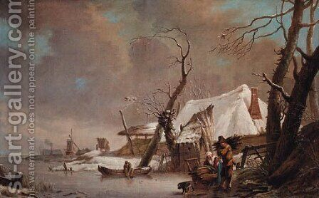A winter landscape with faggot gatherers on a frozen waterway by a cottage by (after) Hendrick Willem Schweickardt - Reproduction Oil Painting