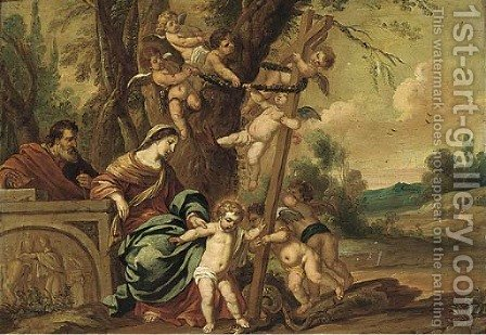The Virgin and Saint John the Baptist with an allegory of the Fall and the Redemption by (after) Hendrik Van Balen, I - Reproduction Oil Painting