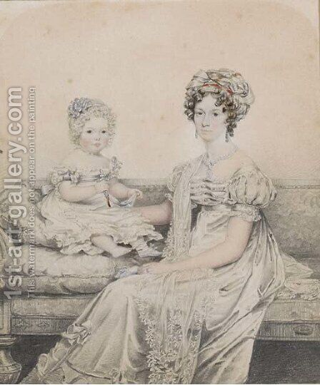 Portrait of a mother and child, said to be Rebe Lowndes and Rebe Mary Lowndes by (after) Henry Edridge - Reproduction Oil Painting