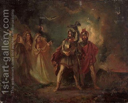Macbeth and Banquo with the three witches by (after) Howard, H. - Reproduction Oil Painting