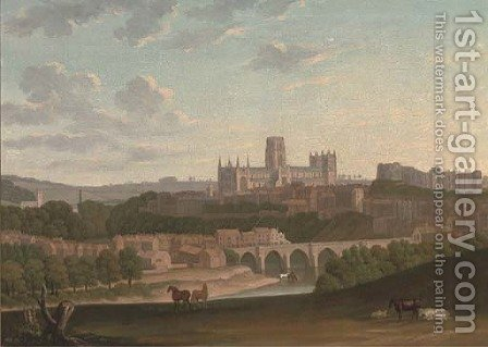 An extensive view of Durham, with cattle and horses in the foreground by (after) Henry Lark Pratt - Reproduction Oil Painting