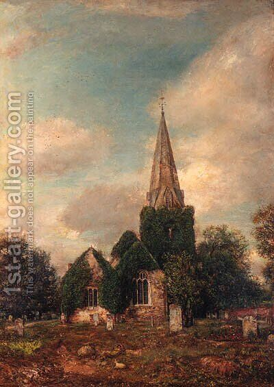 The Churchyard at Stoke Poges, Buckinghamshire by (after) Henry Mark Anthony - Reproduction Oil Painting