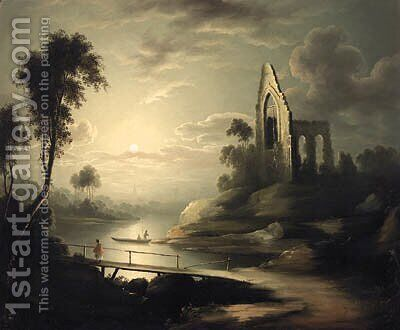Figures In A Moonlit River Landscape With A Ruined Abbey Beyond by (after) Henry Pether - Reproduction Oil Painting