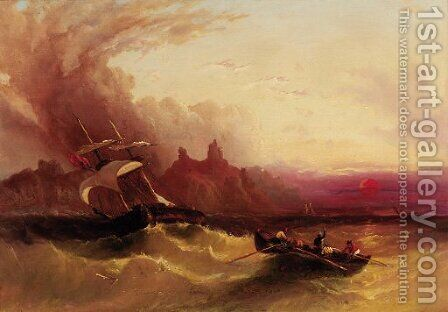 Shipping off the coast in choppy seas at sunset by (after) Henry Redmore - Reproduction Oil Painting