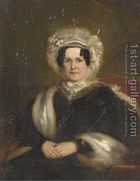 Portrait of Mrs Williams, seated half-length by (after) Pickersgill, Henry William - Reproduction Oil Painting