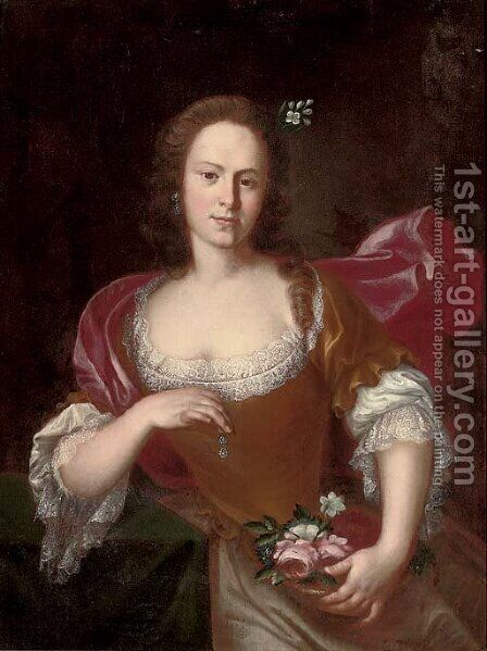 Portrait of a lady 4 by (after) Heroman Van Der Mijn - Reproduction Oil Painting