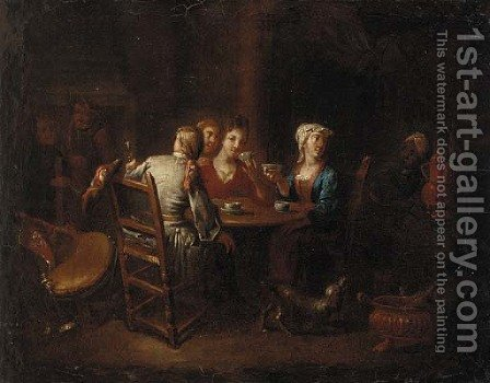 Company drinking tea and wine in an inn by (after) Heroman Van Der Mijn - Reproduction Oil Painting