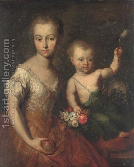 Double portrait of a girl and a boy by (after) Heroman Van Der Mijn - Reproduction Oil Painting