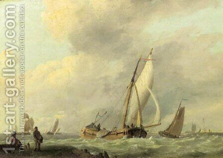 An estuary with sailing vessels in a breeze by (after) Hermanus Sen Koekkoek - Reproduction Oil Painting