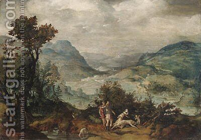 An extensive Landscape with Venus and Adonis(); and An extensive Landscape with Mercury and Argus by (after) Herri Met De Bles - Reproduction Oil Painting