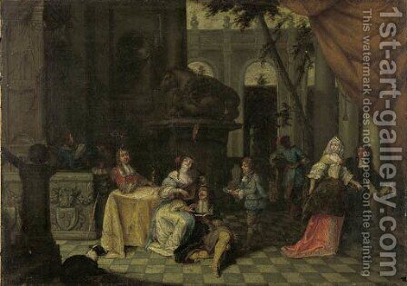 Elegant company on a terrace by (after) Hieronymus Janssens - Reproduction Oil Painting