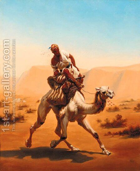An Arab riding a camel at speed by (after) Horace Vernet - Reproduction Oil Painting