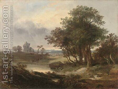 A ruined castle beyond a pool by (after) Horatio Macculloch - Reproduction Oil Painting