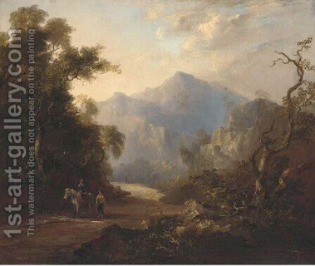 Figures on a beaten track in a mountainous landscape by (after) Horatio McCulloch - Reproduction Oil Painting