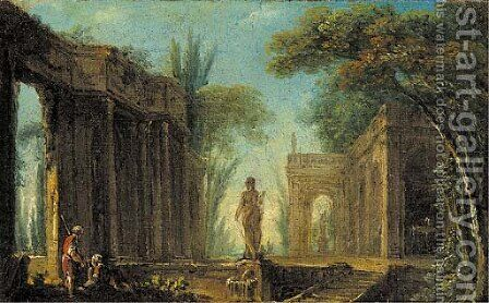 A capriccio of classical ruins with figures by a fountain by (after) Hubert Robert - Reproduction Oil Painting