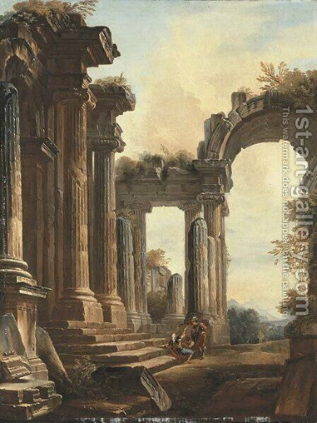 A capriccio of classical ruins with three men conversing at the steps of a temple, a landscape beyond by (after) Hubert Robert - Reproduction Oil Painting