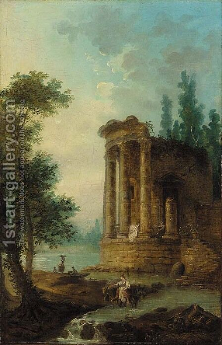 A wooded river landscape with figures by a classical ruin by (after) Hubert Robert - Reproduction Oil Painting