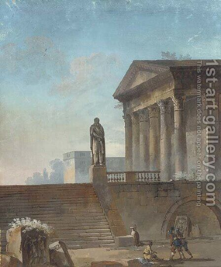 Homage to classicism by (after) Hubert Robert - Reproduction Oil Painting