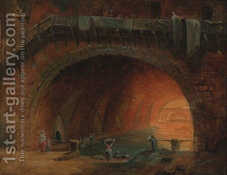 Washerwomen at an aqueduct by (after) Hubert Robert - Reproduction Oil Painting
