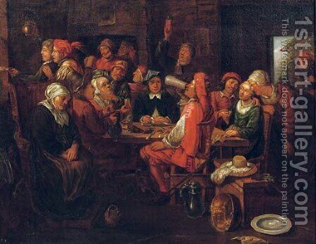 Figures making merry in an inn by (after) Hubert Van Ravesteijn - Reproduction Oil Painting
