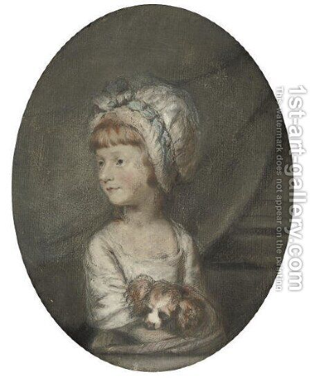 Portrait of a young girl with her dog by (after) Hugh Douglas Hamilton - Reproduction Oil Painting