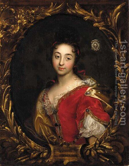 Portrait of a lady, said to be the Marquisse de Rochebaron by (after) Hyacinthe Rigaud - Reproduction Oil Painting