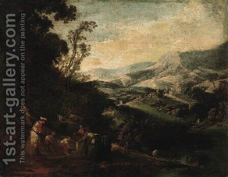 A mountainous Landscape with Peasants drawing Water from a Well by (after) Ignacio De Iriarte - Reproduction Oil Painting