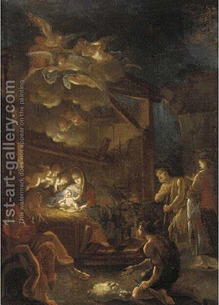 The Adoration of the Shepherds 2 by (after) Ignazio Stella (see Stern Ignaz) - Reproduction Oil Painting