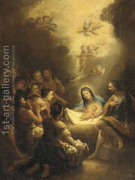 The Adoration of the Shepherds by (after) Ignazio Stern - Reproduction Oil Painting